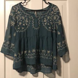 Translucent Embroidered Free People Blouse